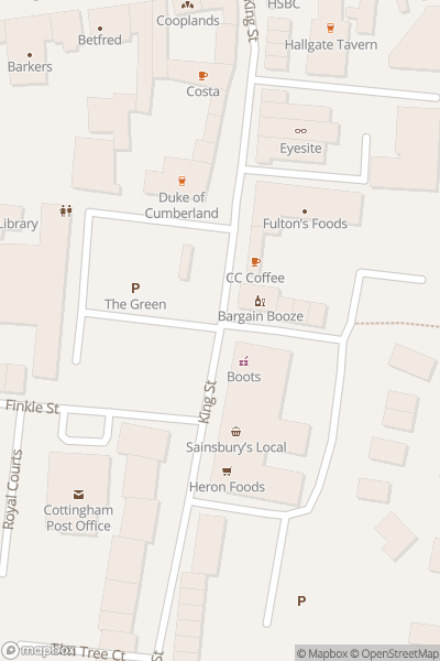 A map indicating the location of Cottingham Christmas Festival
