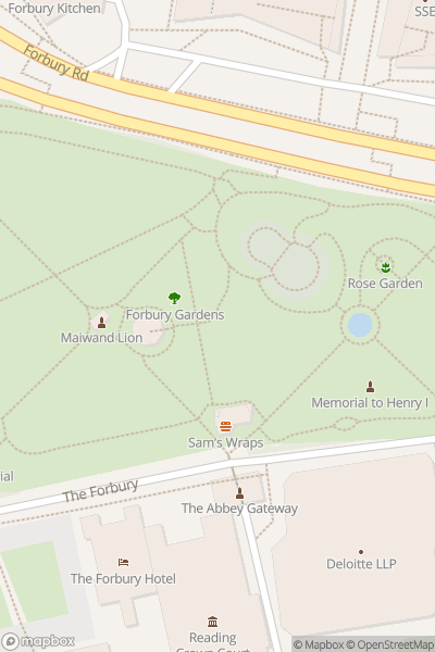 A map indicating the location of Forbury Gardens
