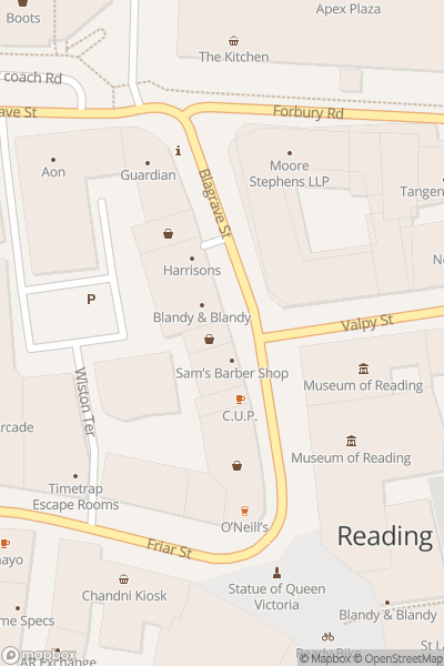 A map indicating the location of Reading Museum
