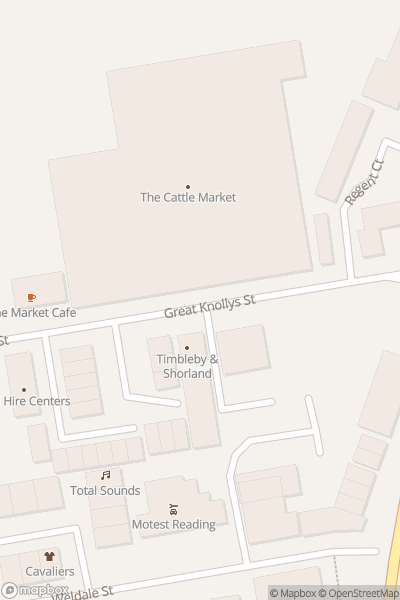 A map indicating the location of Reading Farmers' Market