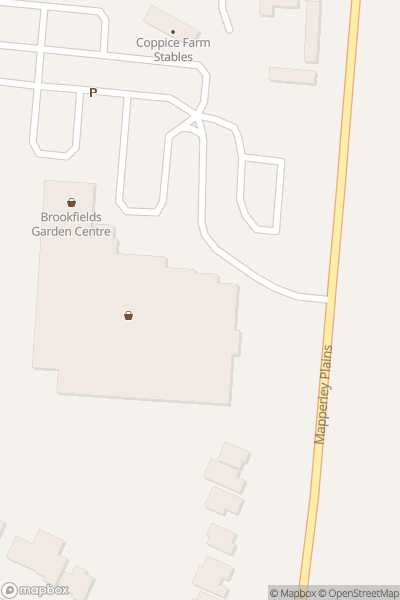 A map indicating the location of Brookfields Garden Centre