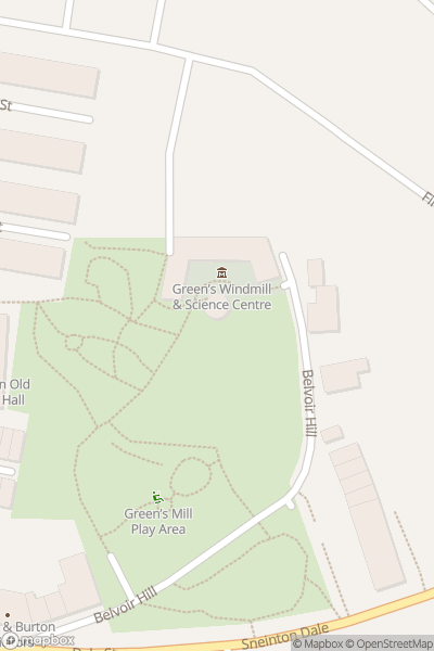 A map indicating the location of Green's Windmill and Science Centre