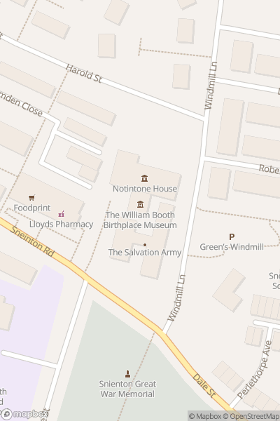 A map indicating the location of William Booth Birthplace Museum