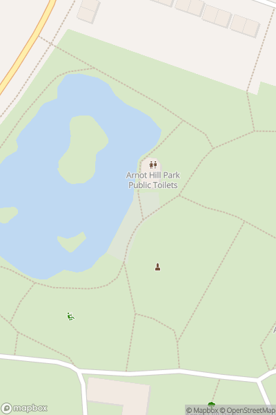 A map indicating the location of Arnot Hill Park