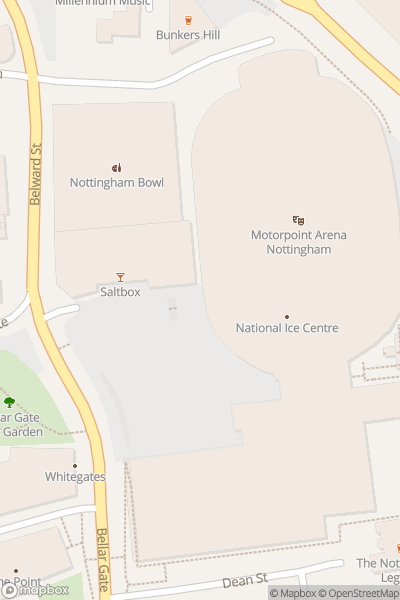A map indicating the location of Motorpoint Arena Nottingham