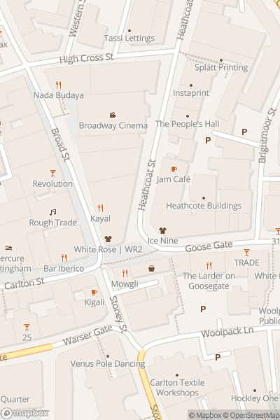 A map indicating the location of Nottingham Car Free Day 2019