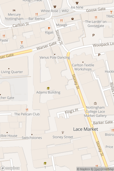 A map indicating the location of Nottingham College - Adams Building