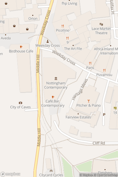 A map indicating the location of Nottingham Contemporary