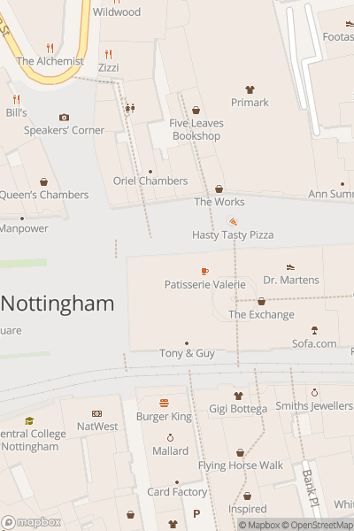A map indicating the location of Nottingham Booklovers Walk