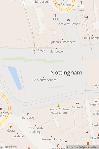 A map indicating the location of Nottingham Comedy Festival 2019