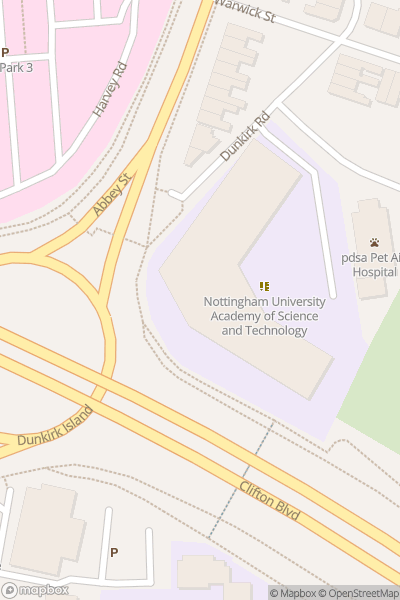 A map indicating the location of NUAST (Nottingham University Academy of Science and Technology)