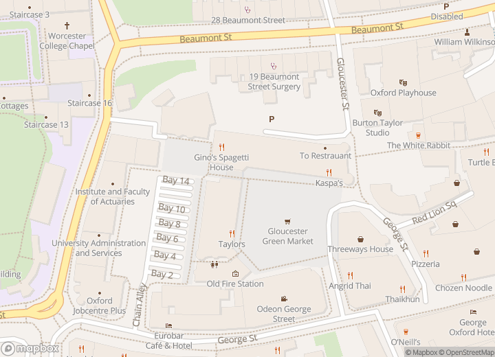 A map indicating the location of Gloucester Green Travel Shop