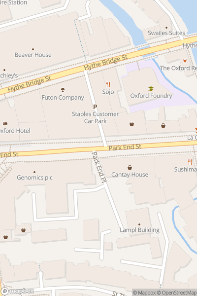 A map indicating the location of Open-top bus tour and walking tour of Oxford