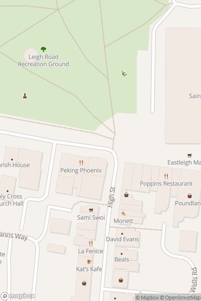 A map indicating the location of Eastleigh Christmas Lights Switch-on and Fun Day