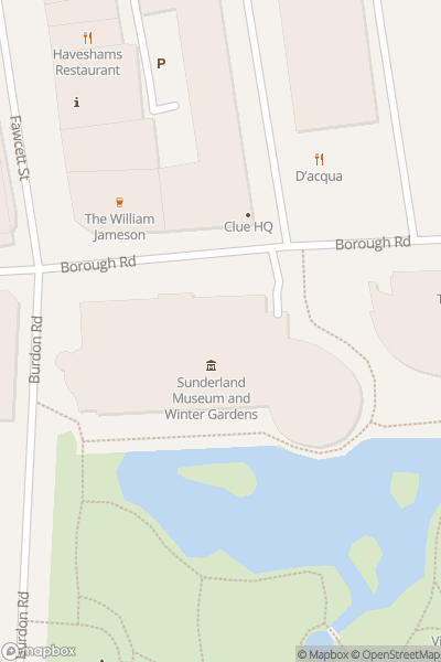 A map indicating the location of Sunderland Museum & Winter Gardens