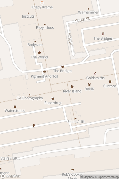 A map indicating the location of The Bridges Shopping Centre