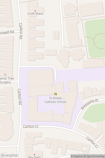 A map indicating the location of St Annes Catholic School