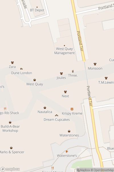 A map indicating the location of West Quay Maze
