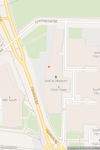 A map indicating the location of SeaCity Museum