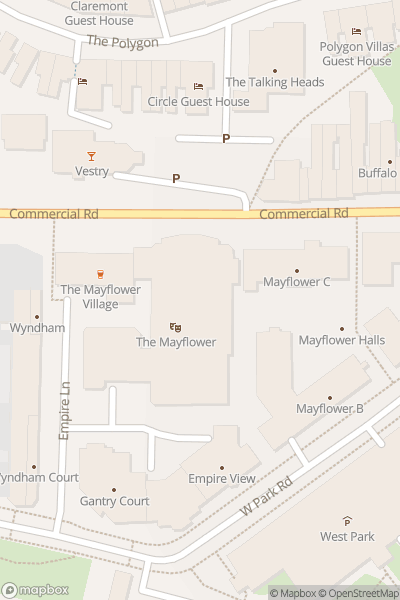 A map indicating the location of Mayflower Theatre