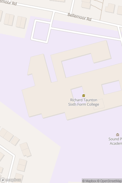 A map indicating the location of Richard Taunton Sixth Form College