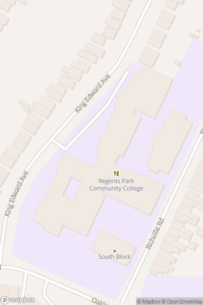 A map indicating the location of Regents Park Community College