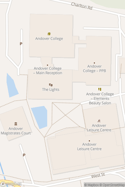 A map indicating the location of The Lights - Covid19 Vaccination Centre, Andover