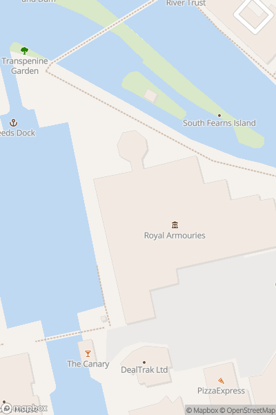 A map indicating the location of Royal Armouries