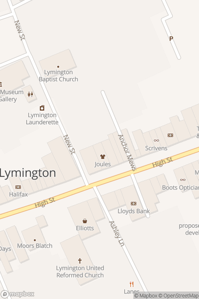 A map indicating the location of Lymington