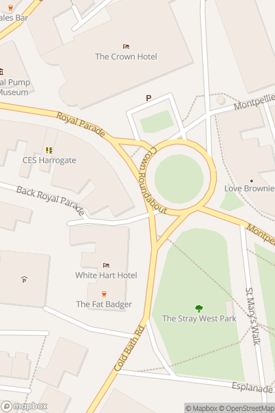 A map indicating the location of Valley Gardens