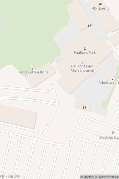 A map indicating the location of Paultons Park