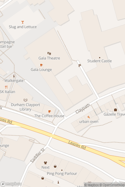 A map indicating the location of Carl Hutchinson at Gala Theatre in Durham