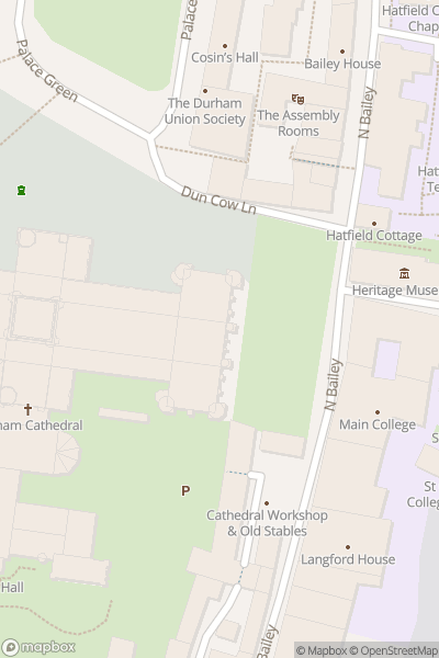 A map indicating the location of Durham Cathedral & Castle