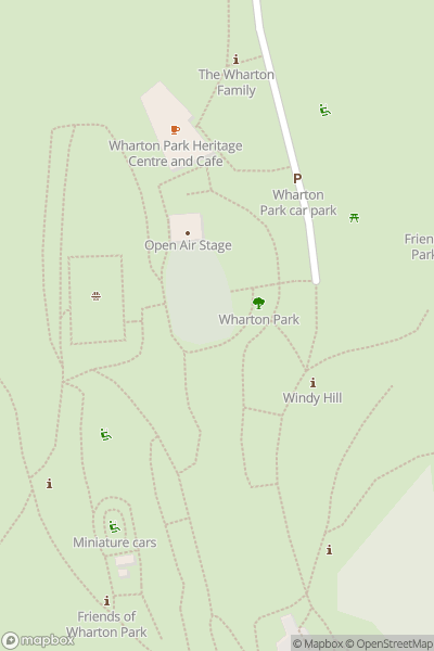 A map indicating the location of Wharton Park in Durham
