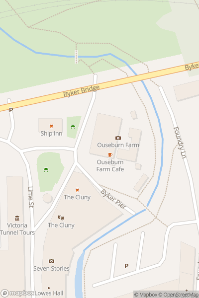 A map indicating the location of Ouseburn Farm