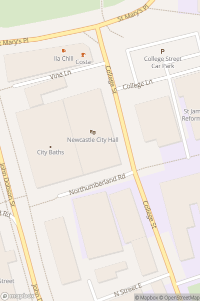 A map indicating the location of O2 City Hall Newcastle