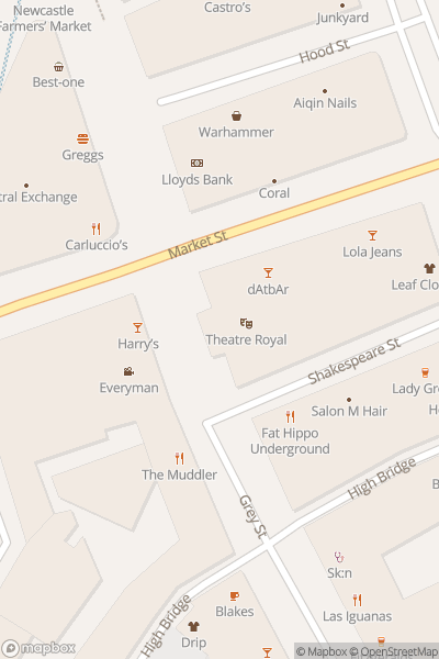 A map indicating the location of Newcastle Theatre Royal
