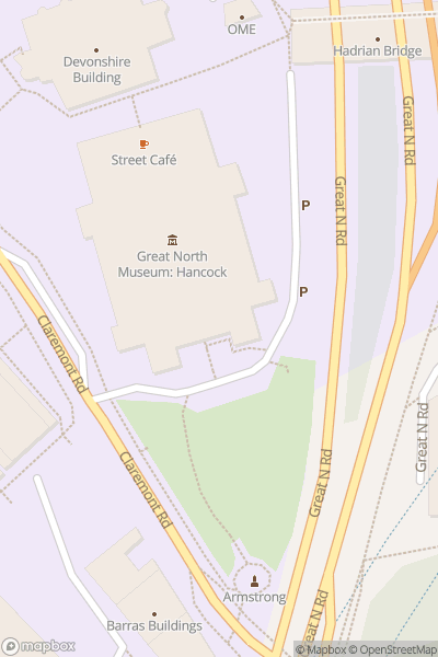 A map indicating the location of Great North Museum: Hancock