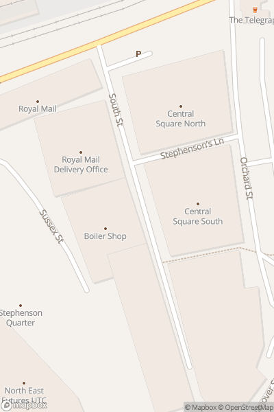 A map indicating the location of The Cribs at Boiler Shop in Newcastle