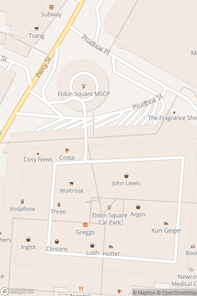 A map indicating the location of intu Eldon Square