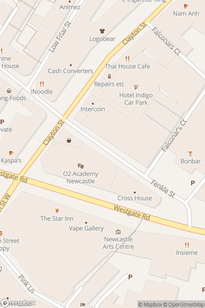 A map indicating the location of O2 Academy Newcastle
