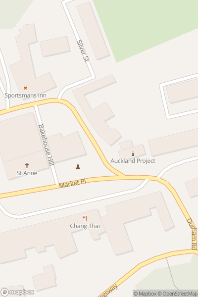 A map indicating the location of Bishop Auckland Food Festival
