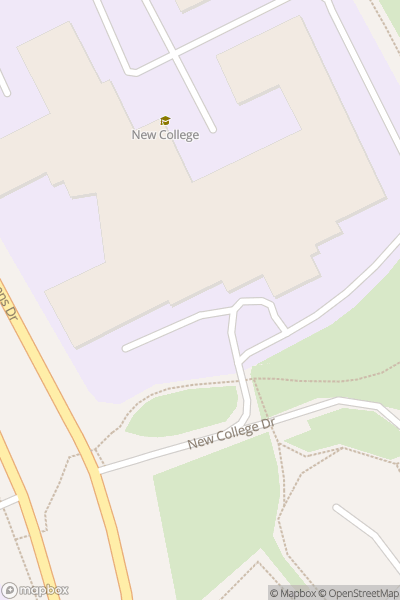 A map indicating the location of New College, Swindon