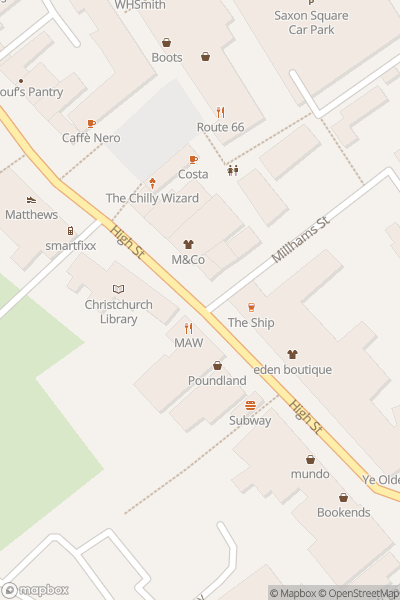 A map indicating the location of Christchurch Food Festival