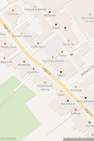 A map indicating the location of Christchurch Monday Market
