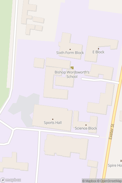 A map indicating the location of Bishop Wordsworth's School