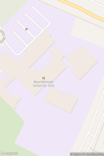A map indicating the location of Bournemouth School for Girls