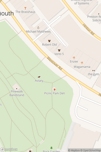 A map indicating the location of Bournemouth Christmas Tree Wonderland