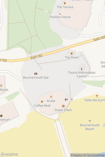 A map indicating the location of Bournemouth Beach