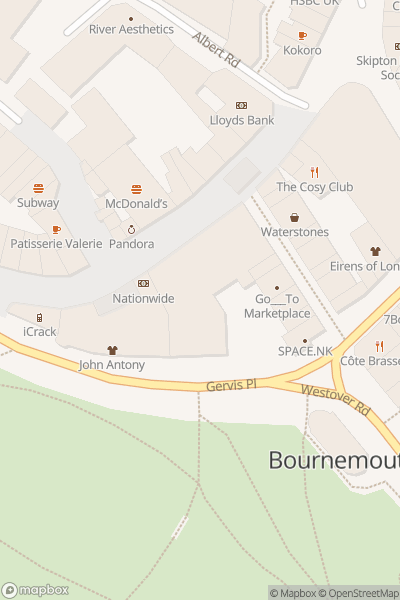 A map indicating the location of Bournemouth Arts by the Sea Festival